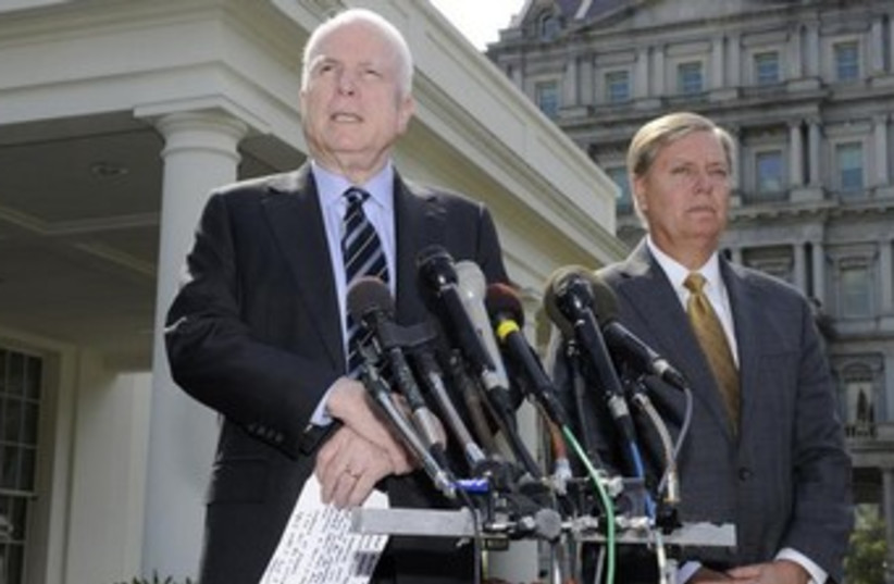 Republican Senators McCain and Graham 370 (photo credit: REUTERS)