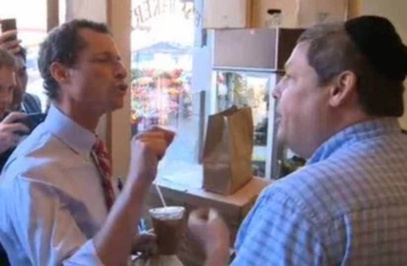 Anthony Weiner in altercation with Jewish man 370 (photo credit: Video screenshot)