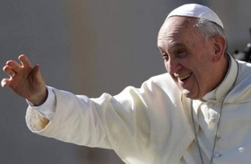 pope francis waves 370 (photo credit: REUTERS)