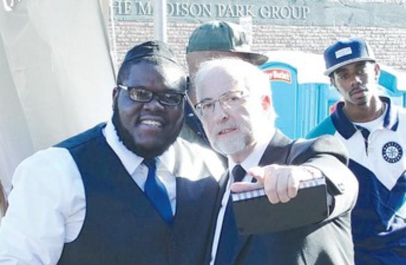 Rabbi Simon Benzaquen and rapper Nissim 370 (photo credit: Judy Lash Balint)