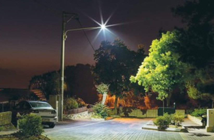 A LED bulb illuminates a street in Ma'alot-Tarshiha. (photo credit: Courtesy)
