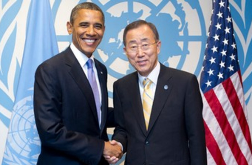 Secretary-General Ban Ki-moon with US President Barack Obama (photo credit: Courtesy UN)