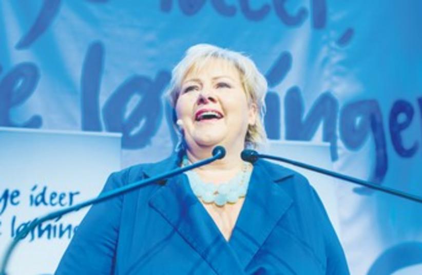 NORWEGIAN CONSERVATIVE LEADER Erna Solberg 370 (photo credit: Stian Lysberg Solum/Reuters)