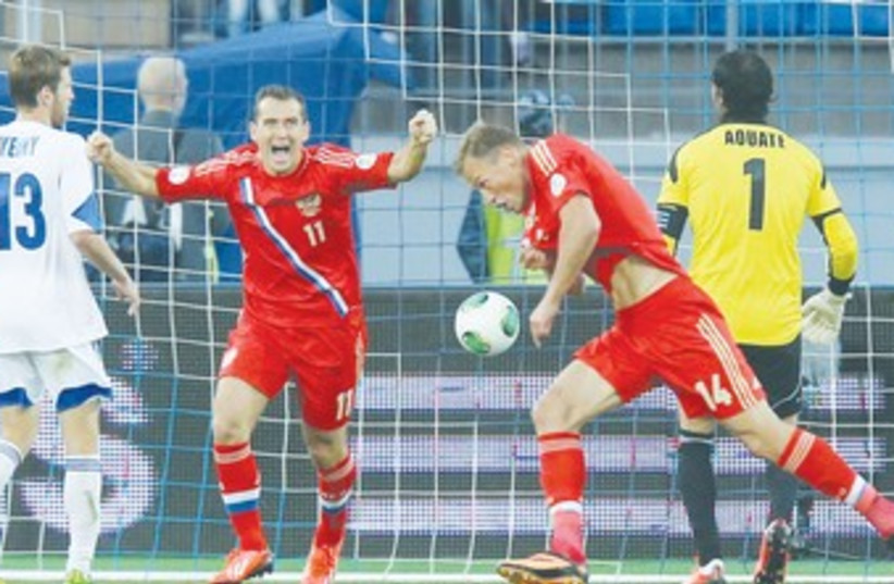 Russia defeats Israeli national soccer team 370 (photo credit: REUTERS)