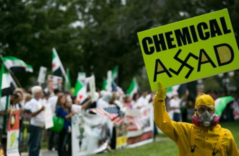Protestors rally in favor of US strike in Syria 390 (photo credit: Drew Angerer/Getty Images/JTA)