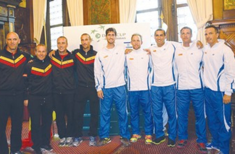 ISRAEL'S AND BELGIUM'S squads tennnis 370 (photo credit: IBA/courtesy)
