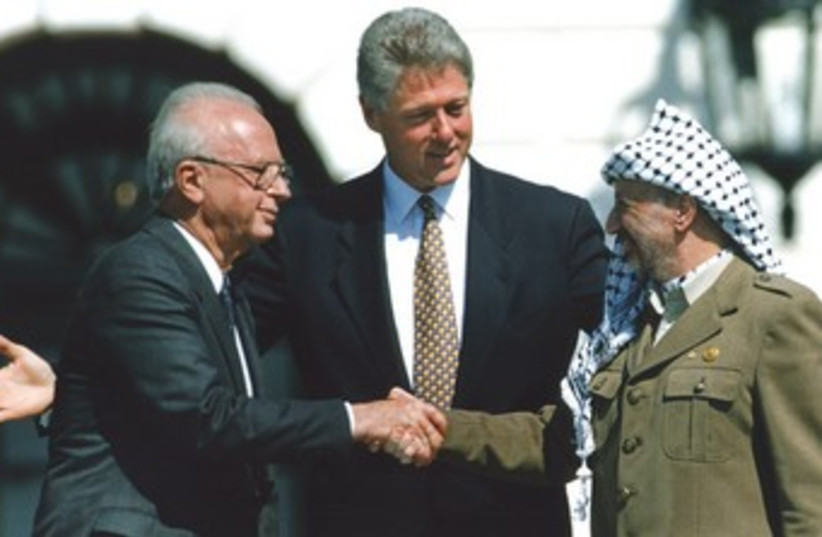 The signing of the Israeli-PLO peace accord 370 (photo credit: REUTERS)