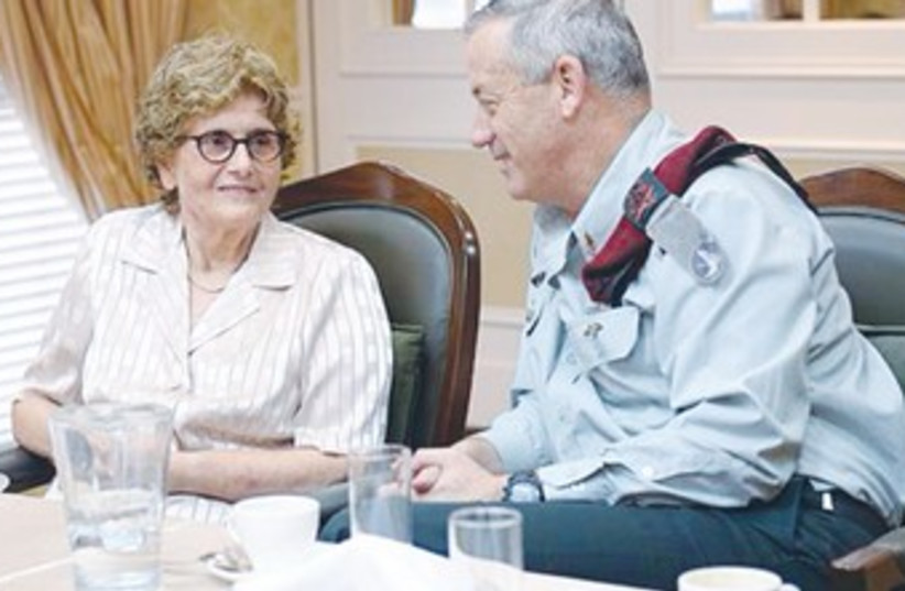 CHIEF OF STAFF Lt.-Gen. Benny Gantz with Telma Elazar370 (photo credit: IDF Spokesman)