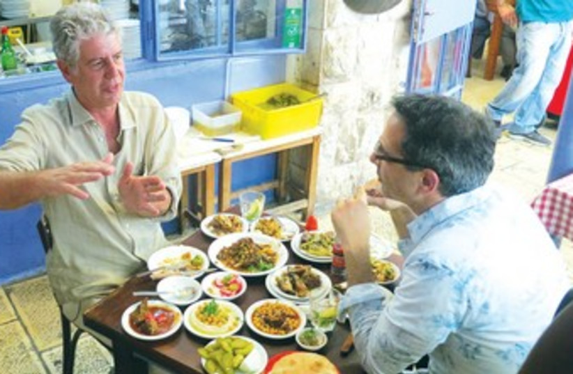 Anthony Bourdain in a Jerusalem restaurant370 (photo credit: Courtesy, CNN)