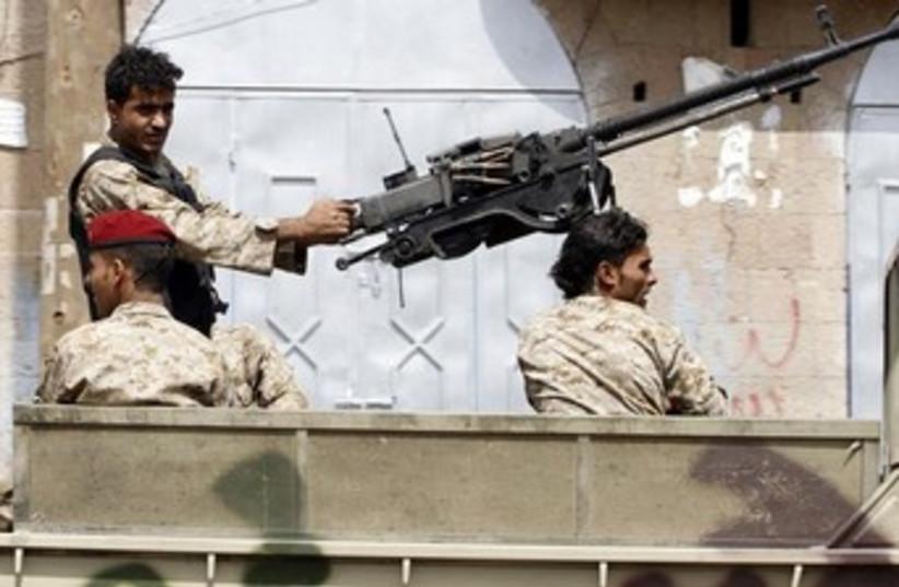 Soldiers in Yemen on patrol 370 (photo credit: REUTERS)