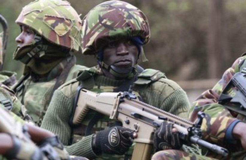 Kenyan soldier at site of terror attack 370 (photo credit: REUTERS)
