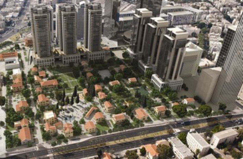 A render showing a renovated Sarona, surrounding development (photo credit: VIEW POINT)