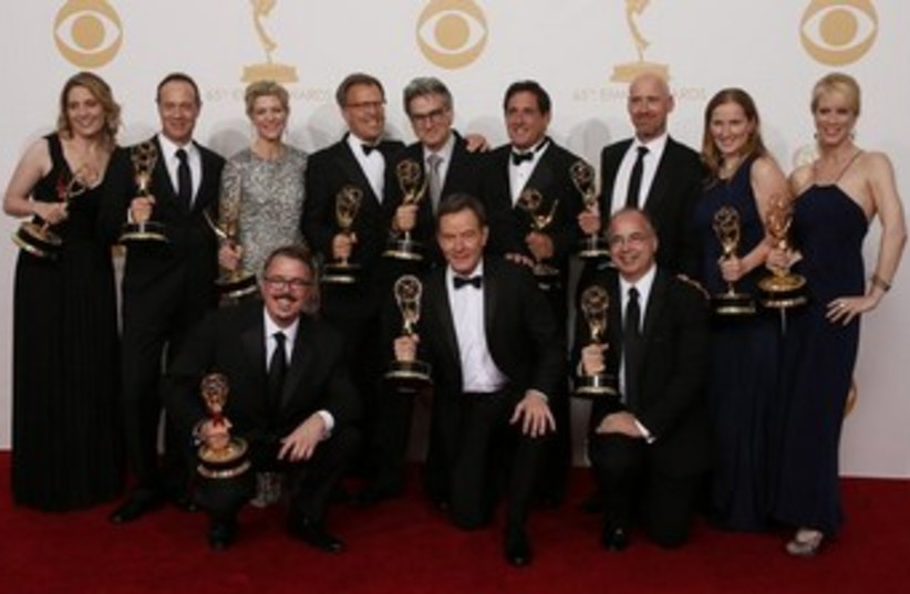 cast crew of breaking bad accept emmy award 370 (photo credit: REUTERS)