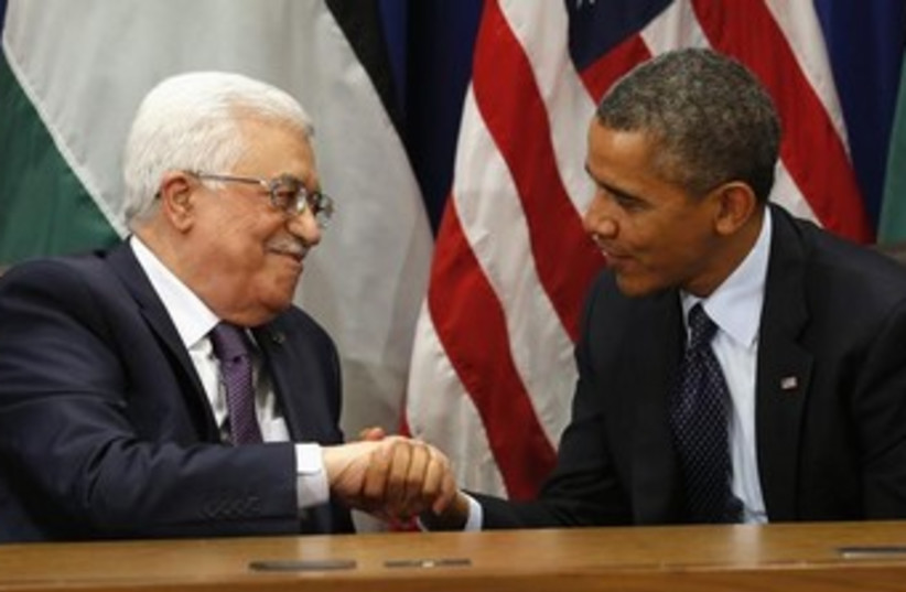 Abbas and Obama at UN General Assembly 2013 370 (photo credit: REUTERS/Kevin Lamarque)