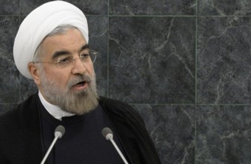 Iranian President Hassan Rouhani at the UN 370 (photo credit: REUTERS/Brendan McDermid)