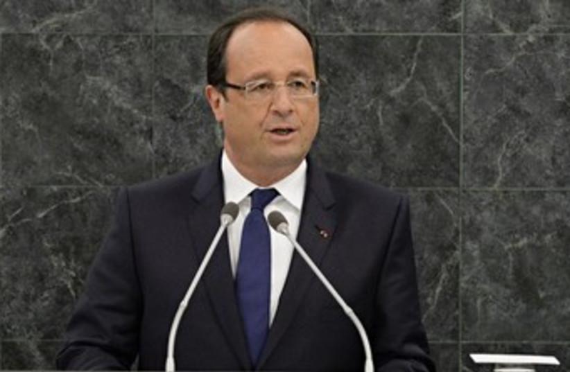 Francois Hollande addressing UN 370 (photo credit: REUTERS/Andrew Burton/Pool)
