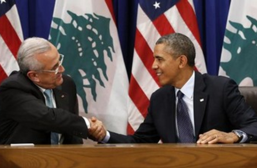 Obama with Lebanon president Sleiman 370 (photo credit: REUTERS/Kevin Lamarque)