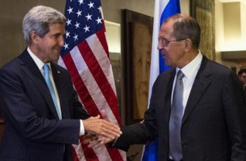 John Kerry and Sergey Lavrov at UN 370 (photo credit: REUTERS/Eric Thayer)