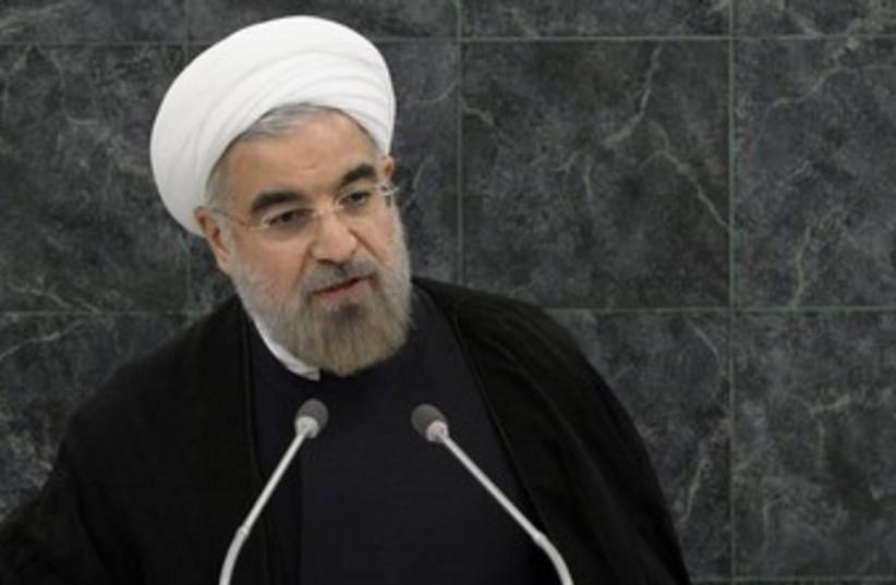 Iran's President Hassan Rouhani address UN 370 (photo credit: REUTERS/Brendan McDermid)