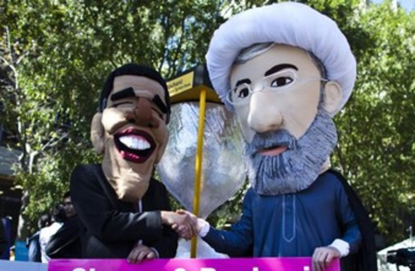 Obama and Rouhani puppets UN 370 (photo credit: REUTERS)