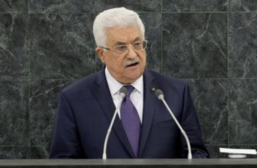 Abbas addressing UN 370 (photo credit: REUTERS/Justin Lane/Pool)
