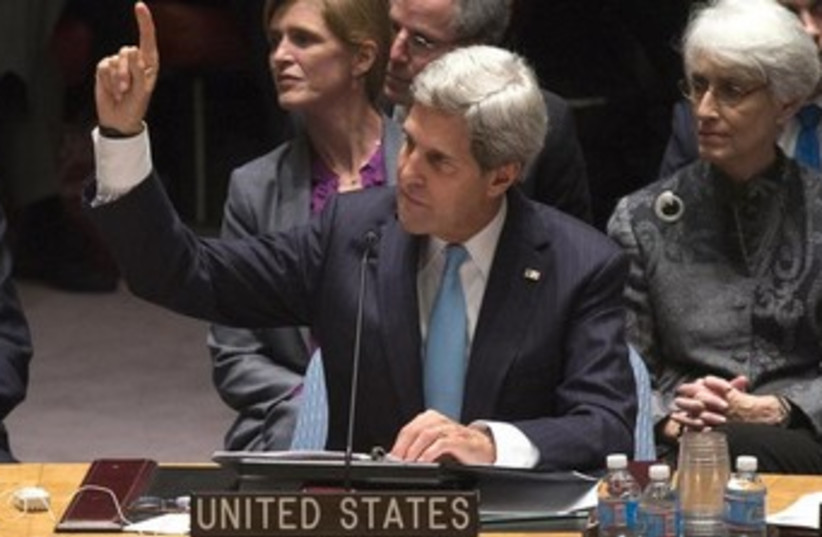 kerry points 370 (photo credit: REUTERS)