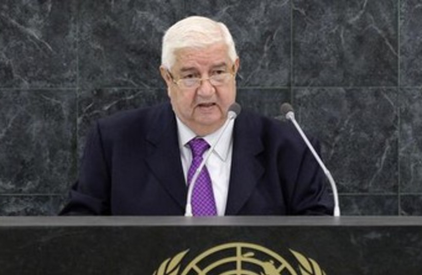 Syrian Foreign Minister Walid al-Moualem addresses un 370 (photo credit: REUTERS)