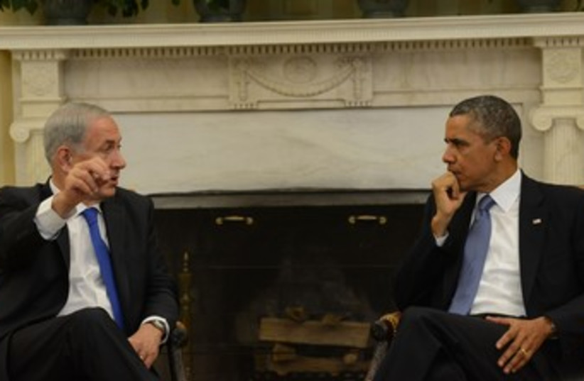 Netanyahu and Obama at Oval Office 370 (photo credit: Koby Gideon/GPO)