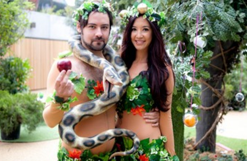 Models portraying Adam and Eve at the Genesis-themed opening (photo credit: Blake Ezra Photography)