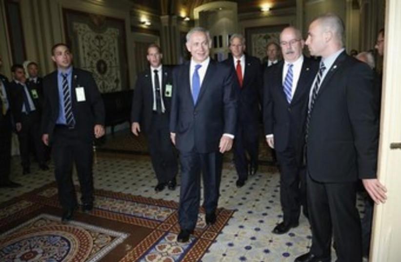 Netanyahu arrives at the UN (photo credit: Reuters)