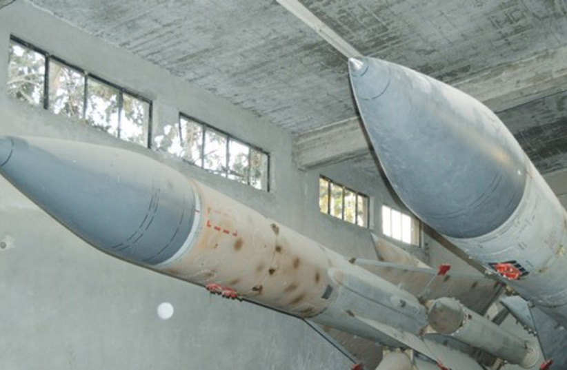 MISSILES ARE seen at a Syrian air defense base (photo credit: Reuters)