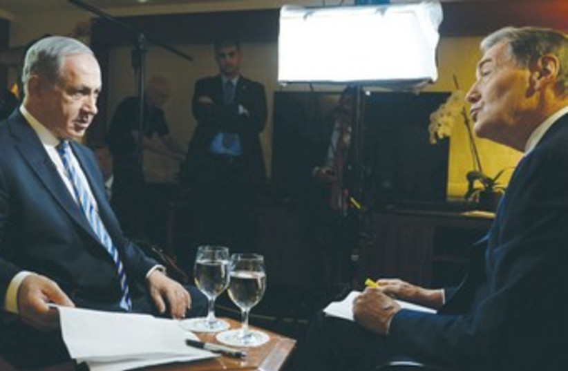 PM Netanyahu with PBS' Charlie Rose 370 (photo credit: GPO / Kobi Gideon)