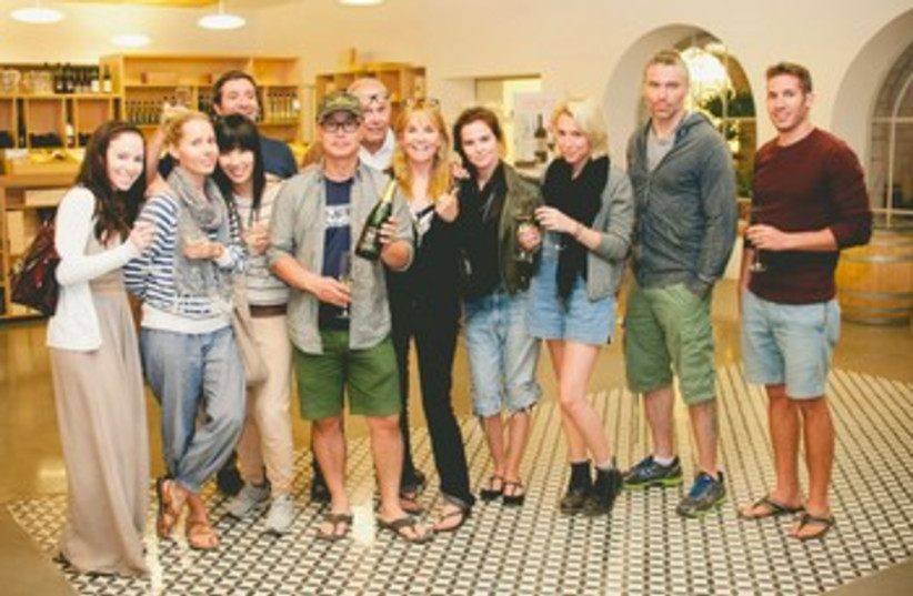 Dexter star C.S Lee with other celebrities in Israel  (photo credit: Courtesy Golan Heights Winery)