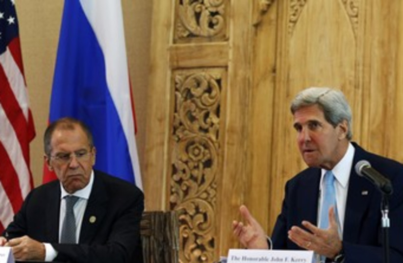 Lavrov and Kerry in Bali 370 (photo credit: REUTERS)