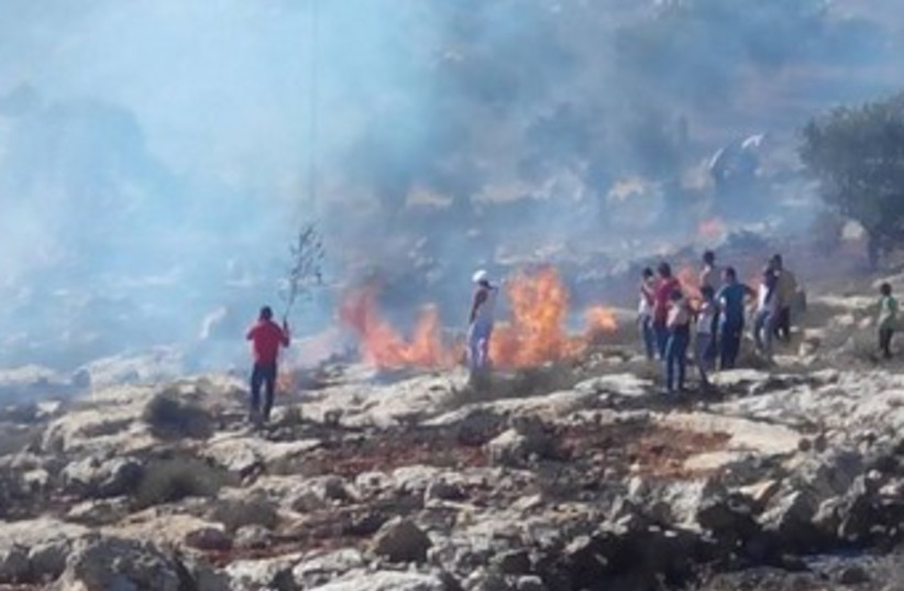 Fire near West Bank village of Jalud 370 (photo credit: Courtesy Rabbis for Human Rights)