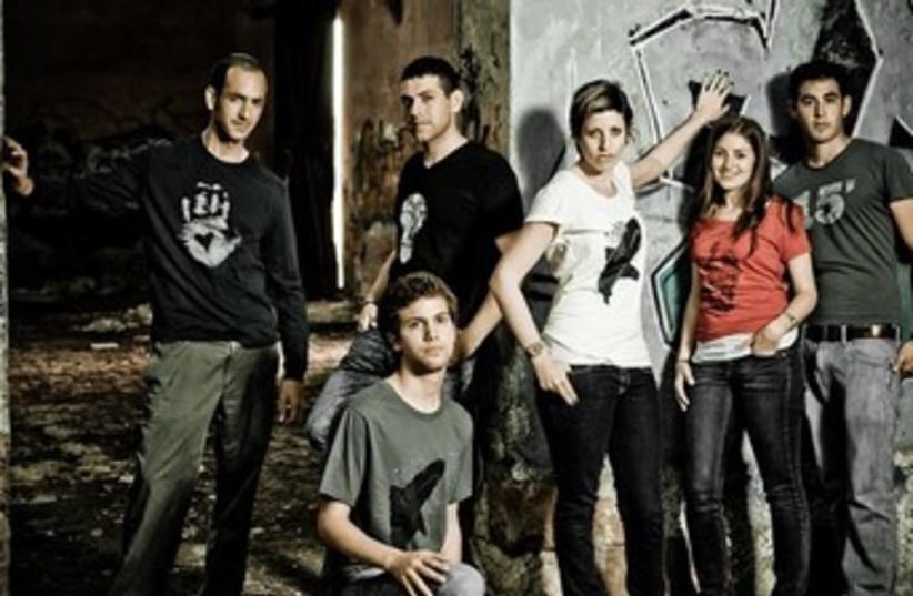 David Kramer (extreme left) and the NU T-shirts team (photo credit: Courtesy)