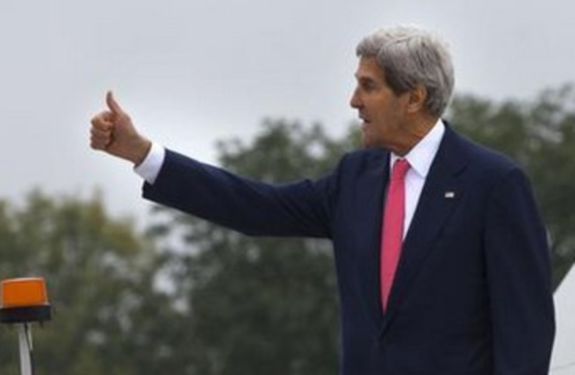 Kerry thumbs up (photo credit: Reuters)