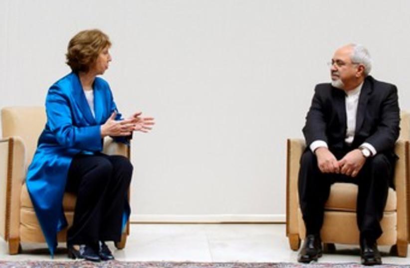 Ashton and Zarif at Geneva nuclear talks 370 (photo credit: REUTERS)