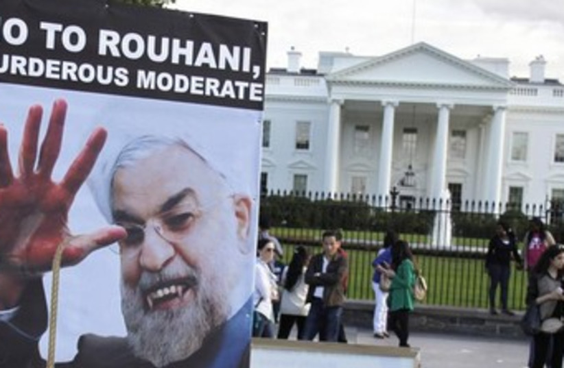 Iranian Americans protest (photo credit: Reuters)