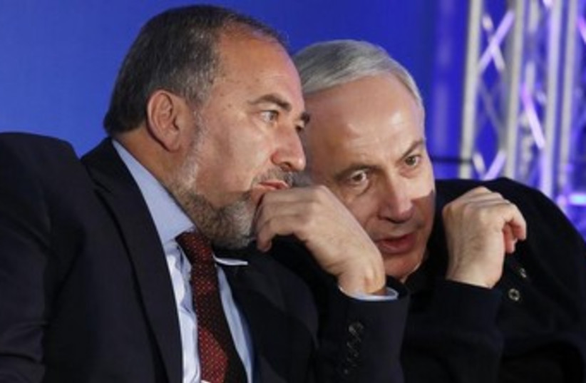 Prime Minister Netanyahu and former FM Liberman 370 (photo credit: Reuters)