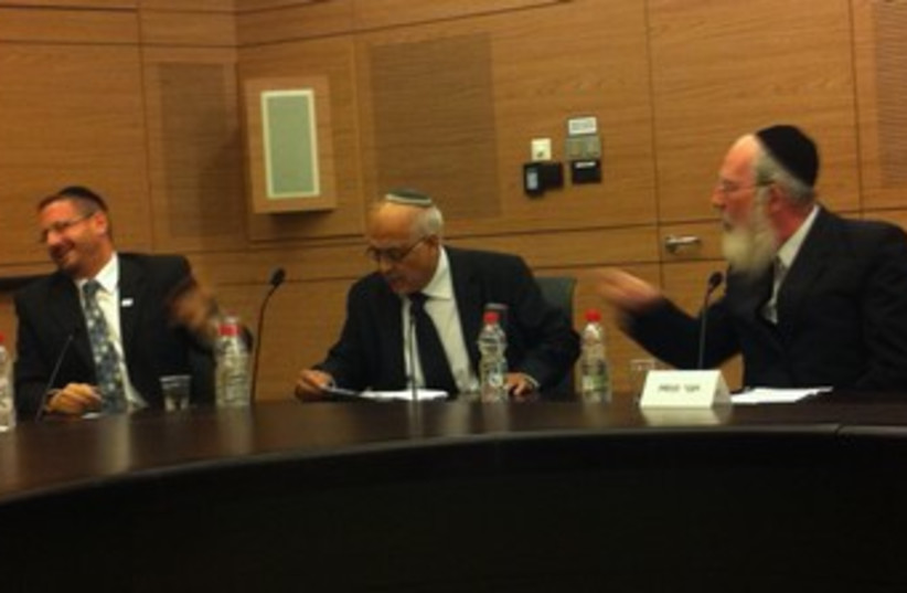 MKs Eichler and Lipman argue in Knesset 370 (photo credit: Sam Sokol)