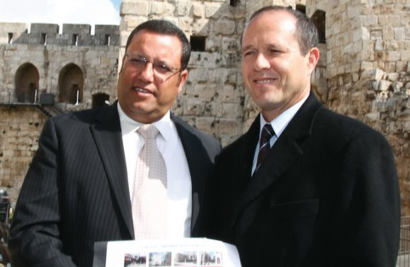 Moshe Lion and Nir Barkat 521 (photo credit: Marc Israel Sellem)