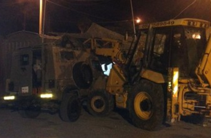 Tractor attack on IDF base 370 (photo credit: IDF Spokesman)
