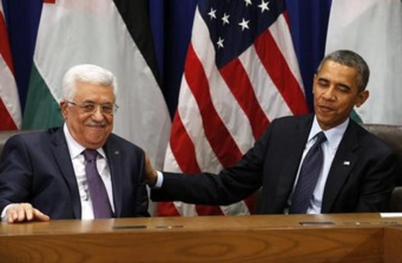 Mahmoud Abbas and Barack Obama 370 (photo credit: REUTERS/Kevin Lamarque)