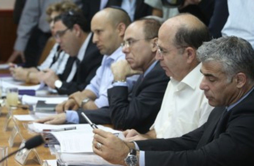 Lapid, Ya'alon, Shalom, Bennett at cabinet meeting 370 (photo credit: Marc Israel Sellem/The Jerusalem Post)
