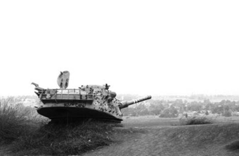 An abandoned Syrian tank on the Golan Heights 370 (photo credit: Seth J. Frantzman)