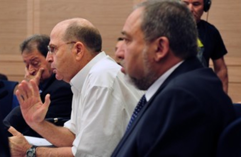 Defense Minister Moshe Ya'alon and MK Avigdor Liberman 370 (photo credit: Ariel Hermoni, Ministry of Defense)