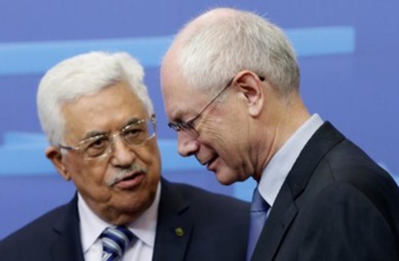Abbas and Van Rompuey 370 (photo credit: REUTERS)