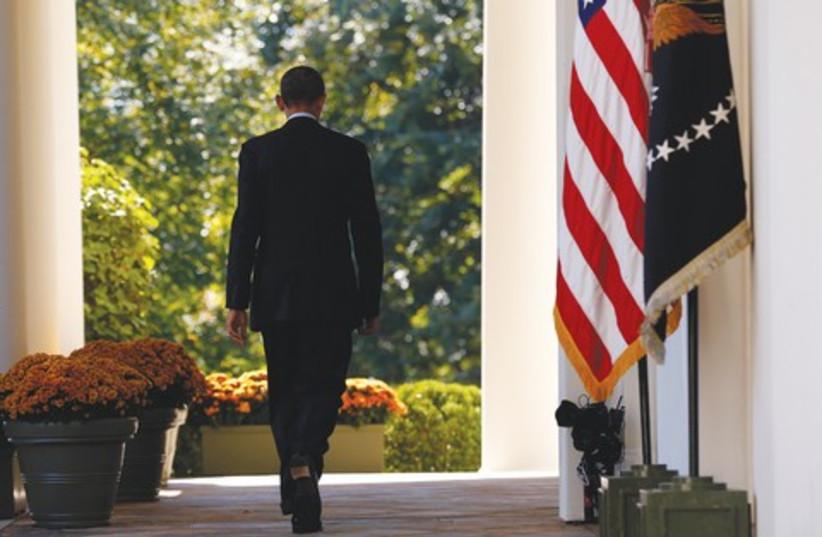 Obama walking away 521 (photo credit: Reuters)