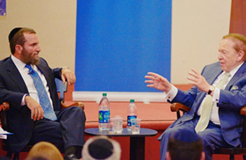 Boteach Adelson Yeshiva debate 370 (photo credit: Courtesy of Shmuley Boteach)